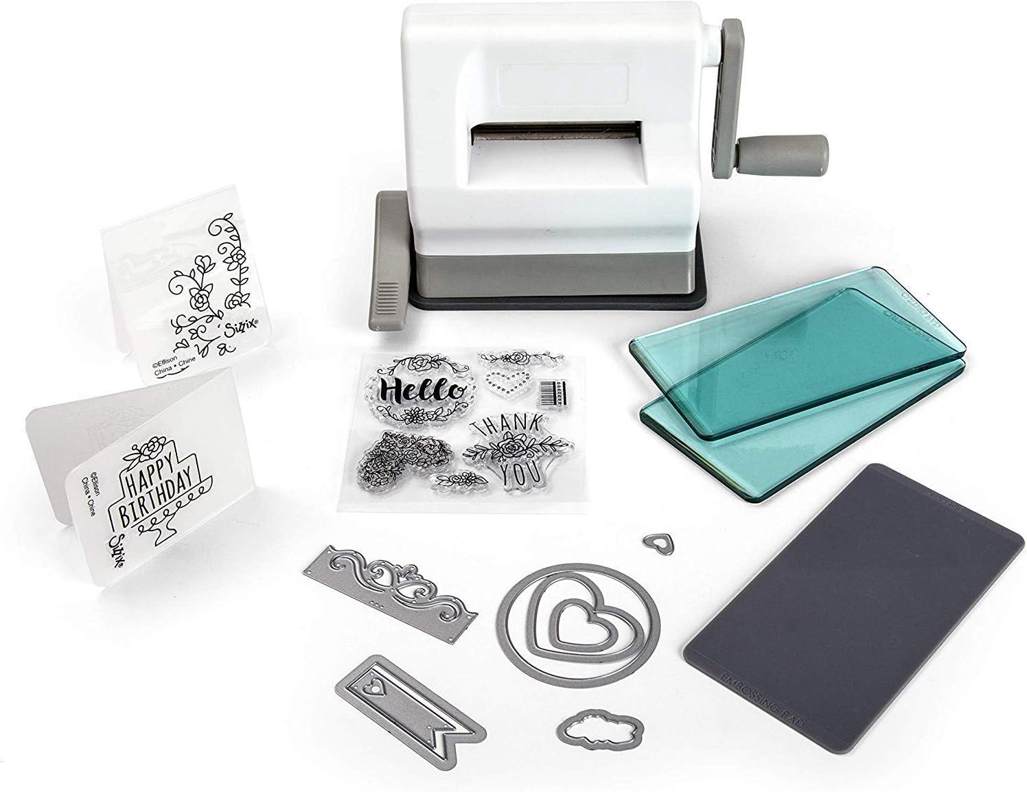 Sizzix Sidekick Starter Kit 661770 Máquina de Troquelado Manual portátil para Manualidades, álbumes de Recortes y Tarjetas, Apertura de 6,35 cm, Multicolor, 19.7 x 8.9 x 12.1 cm