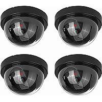 NONMON 4X Cámara Falsa,Cámaras Simuladas de Seguridad Interior/Exterior,Vigilancia Dummy Cámara Simulada CCTV con LED Parpadeante Sistema (Negro)