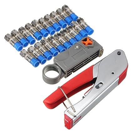 Gochange Herramienta pelacables, pinza crimpadora de cable coaxial, portátil, herramienta cortadora