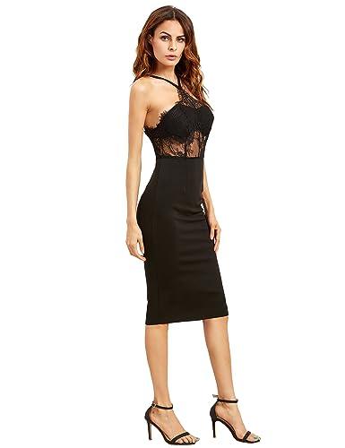 Romwe Women's Sexy Sleeveless Halter Sheer Lace Sheath Dress