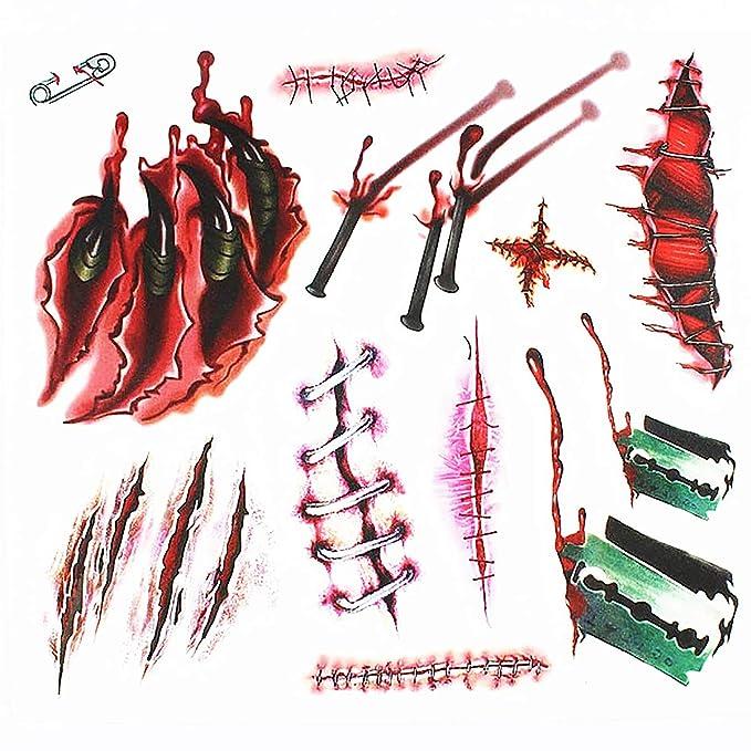 Tatuajes Temporales de Heridas,Bluesialia Tatuajes Adhesivos Coporal de Heridas, Arañas y Huesos para Halloween 4 Hojas Grandes y 4 Pequeñas: Amazon.es: ...
