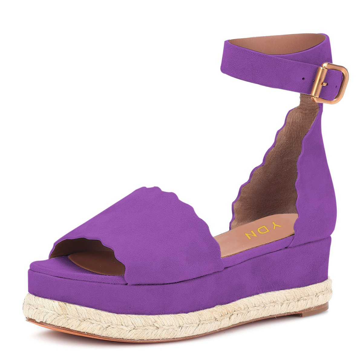 YDN Women Espadrille Peep Toe Ankle Straps Wedge Sandals Low Heels Platform Shoes with Buckle B07DCQ1DHL 8.5 M US|Purple