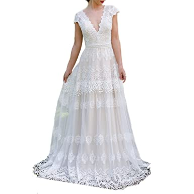 Ellenhouse Women\'s V-Neck Boho Wedding Dresses Bohemian Lace Bridal ...
