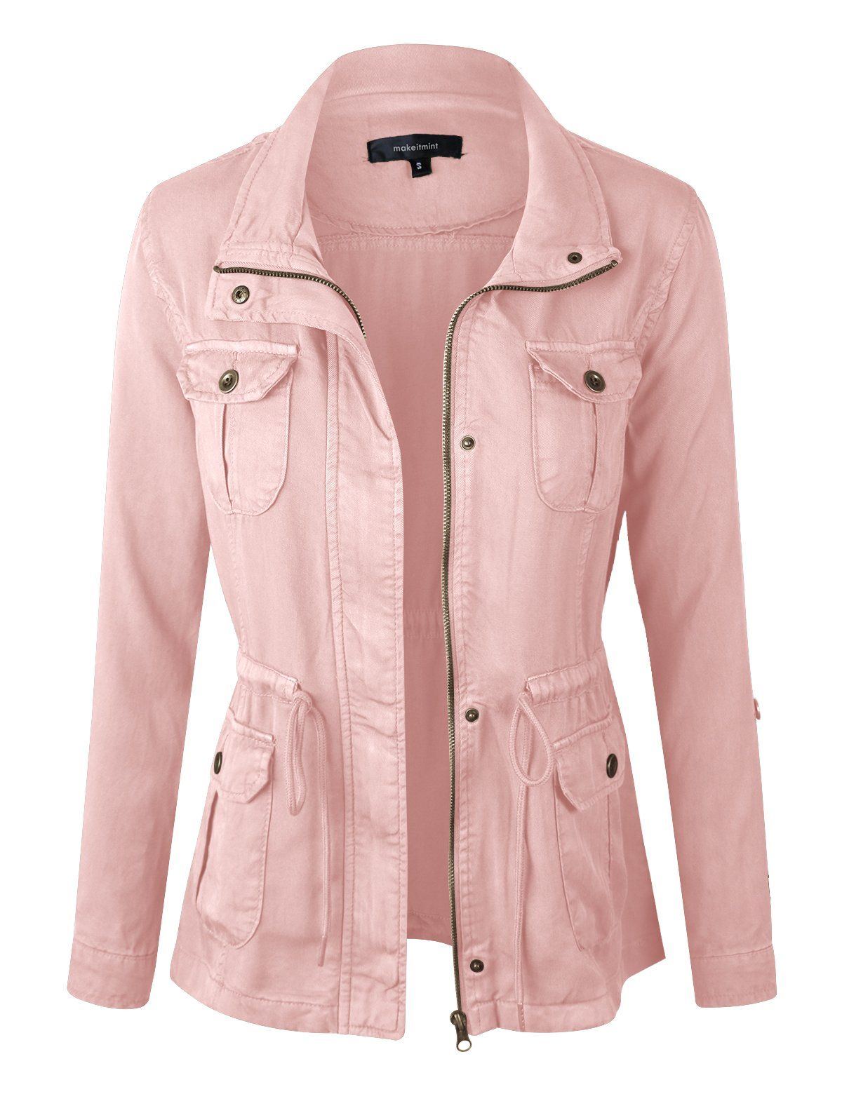makeitmint Women's Soft Tencel Zip Up Utility Anorak Pocket Light-Weight Jacket YJZ0067-BLUSH-MED by makeitmint