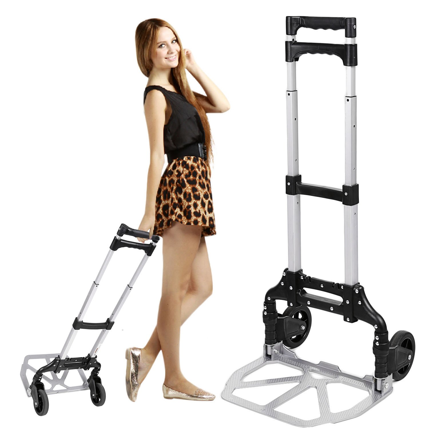 Multi-function Hand Cart, Heavy Duty Aluminum Portable Luggage Trolley Stands with Rubber Wheels (150lbs) OEM