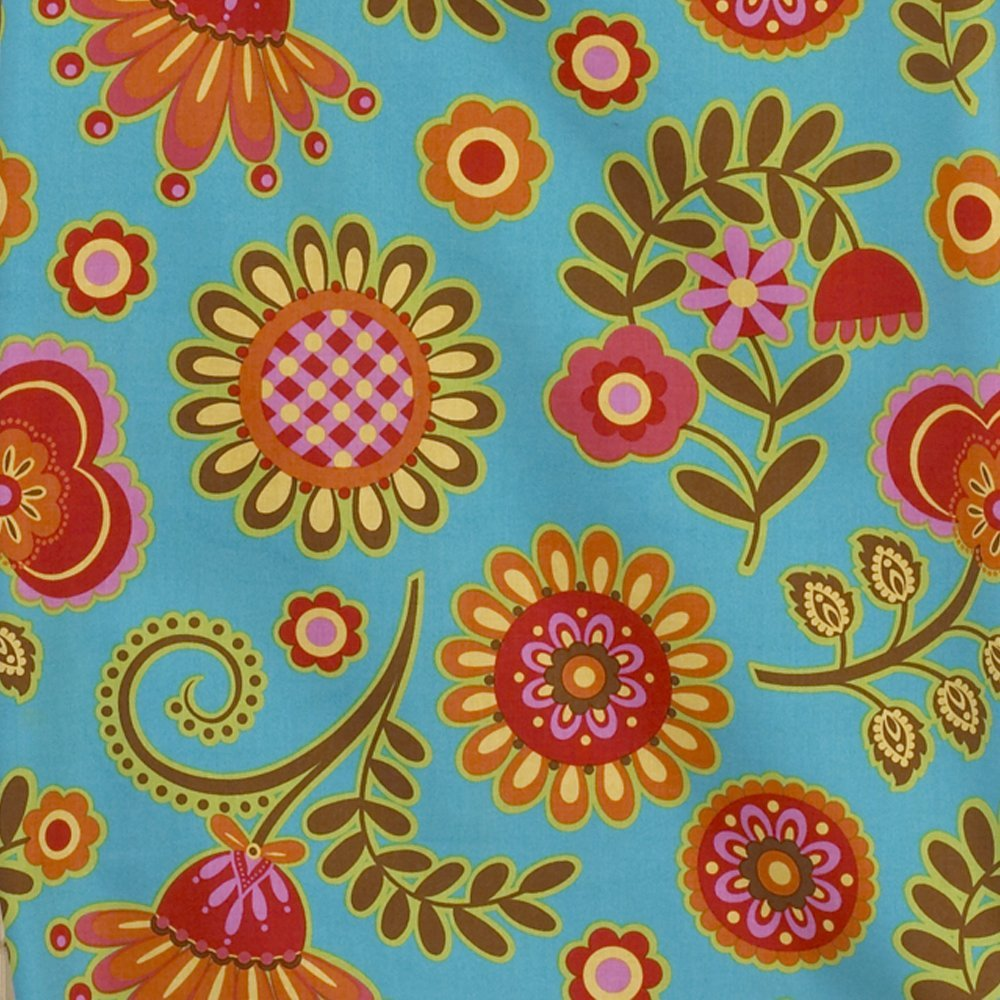 Cotton Tale Designs 100% Cotton Fun Multi Colored Turquoise Blue, Yellow, Orange, Pink Floral Gypsy Standard Ruffled Pillow Sham - Girl - Pillow Cover