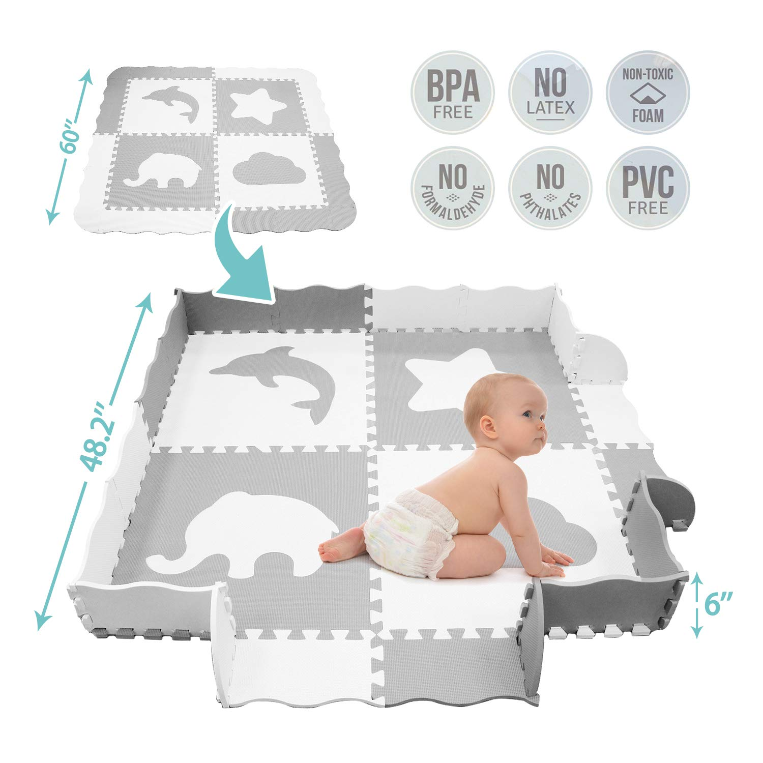 TCBunny Baby Play Mat with Fence, Large, 5 X 5 feet