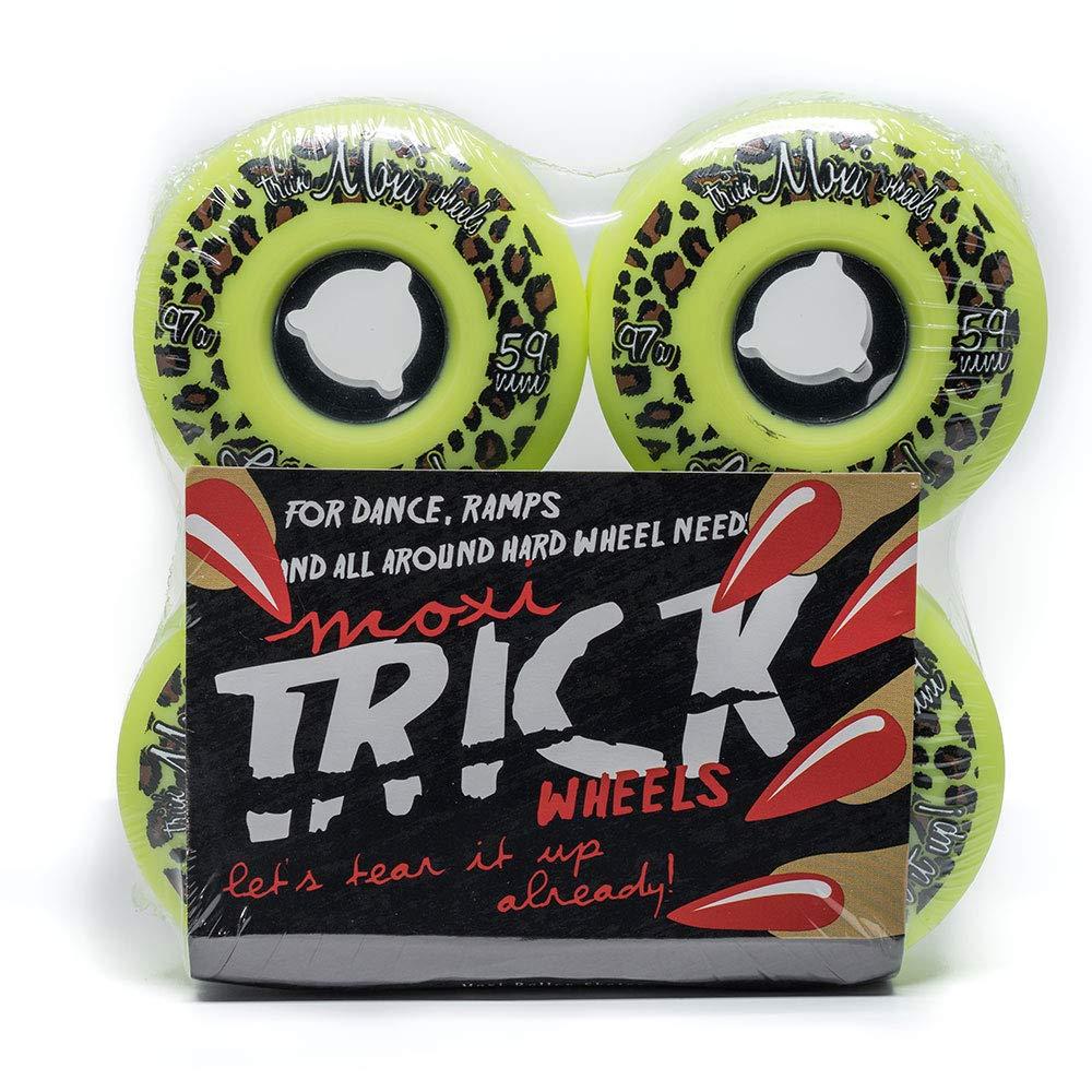 Moxi Skates - Trick Wheels - Roller Skate Wheels - 4 Pack of 59mm 97A Wheels | Lime