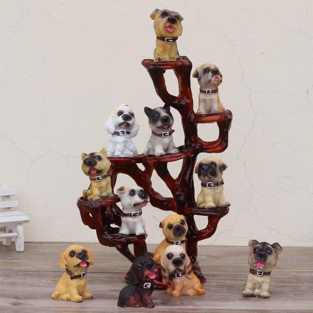 BWLZSP 1 PCS Home Desktop display 12 dog simulation dog mold/animal resin display crafts lovely dog (Contains dogs) LU622219