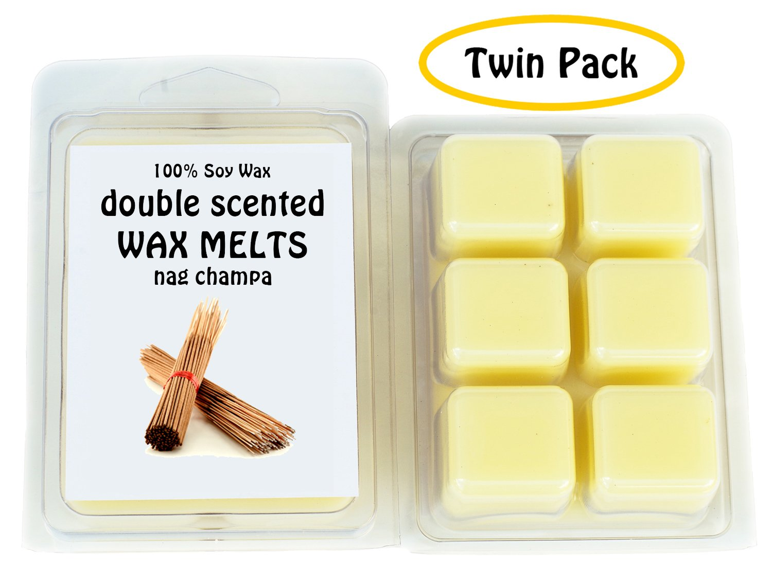 Nag Champa DOUBLE SCENTED SOY WAX MELTS Twin Pack-6.5oz Made in USA WAX TARTS
