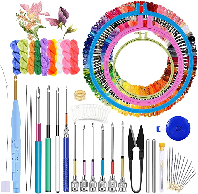Self-Portrait Punch Needle Embroidery Starter Kits Punch Needle Tool Threader Fabric Embroidery Hoop Yarn Rug Punch Needle