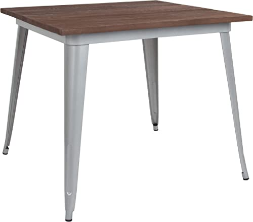 Flash Furniture 36 Square Silver Metal Indoor Cafe Table with Walnut Rustic Wood Top