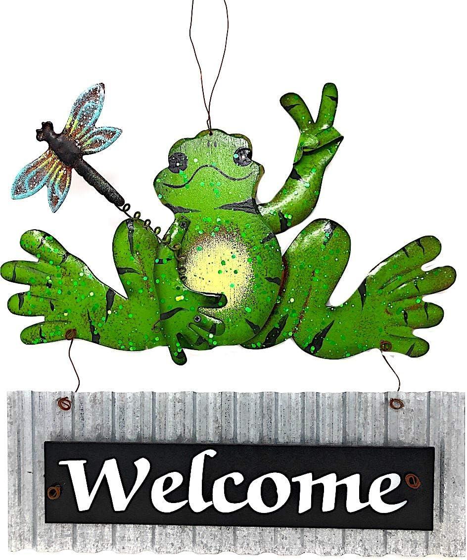 """Mayrich Welcome Metal Frog Sign Rustic Door Wall Decoration Silver Green Indoor Outdoor 13"""" x 13"""""""