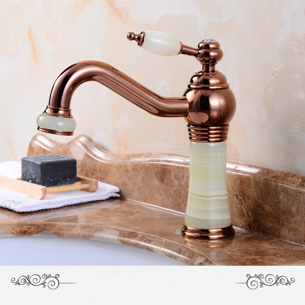 O Hlluya Professional Sink Mixer Tap Kitchen Faucet The Jade marble basin faucet basin mixer full copper golden basin of hot and cold taps, D.
