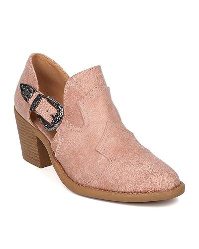 Women Heel Cowboy Bootie - Block Heel Festival Boot - Chunky Heel Western Bootie - HK81 by