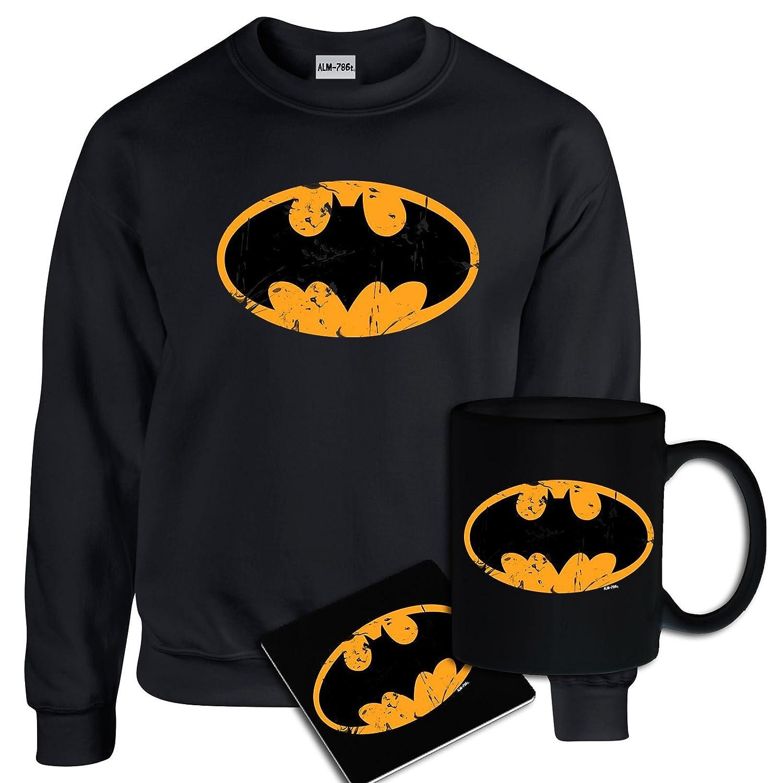StarliteFunnyShirts Mens Printed Batman DC Comics Logo Inspired Sweatshirt, Mug, Coaster Gift Set