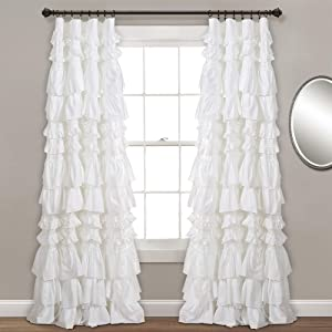 "Lush Decor, White Kemmy Window Curtain Sing Panel, 84"" x 52"""