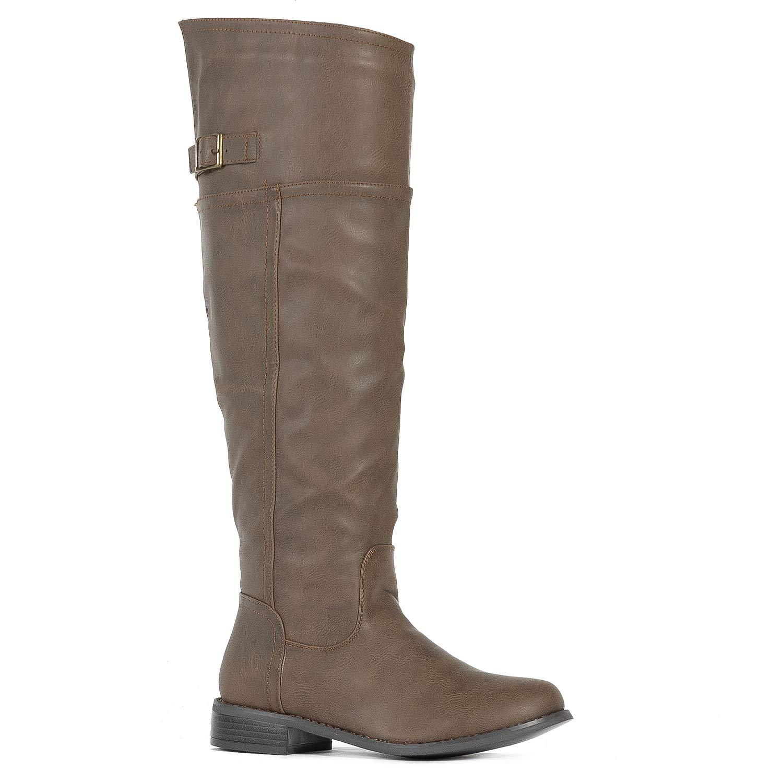 Medium Calf Taupe-12 ROF Women's Fashion Comfy Vegan Suede Block Heel Side Zipper Thigh High Over The Knee Boots