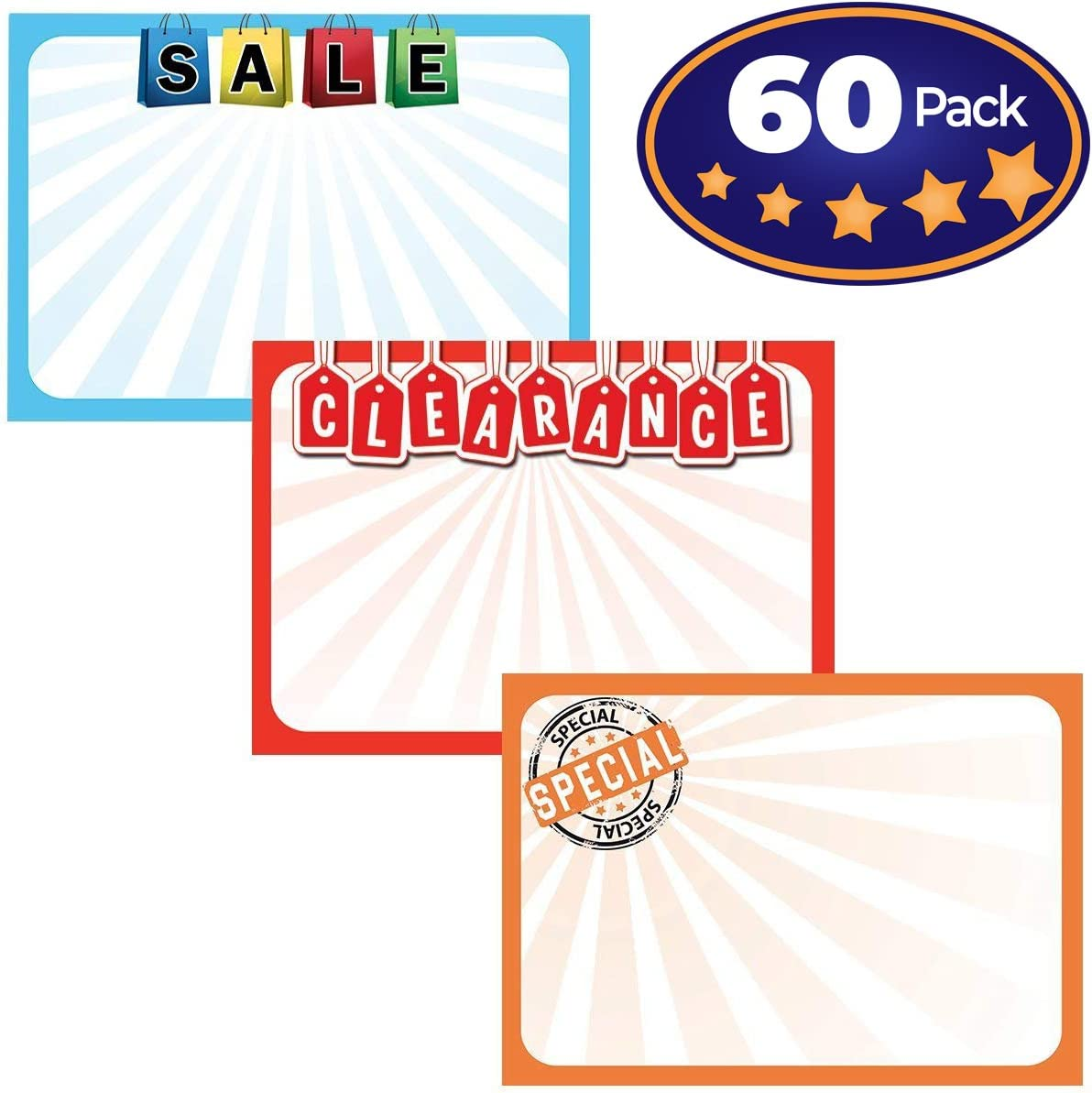 Retail Genius Sale Sign Bulk Variety 60 Pack. Durable 5x7 Price Tags Promote Business At Yard, Estate and Garage Sales. Special Display Card Supplies For Pawn Shops, Flea Markets and Clearance Stores
