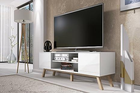 Porta Tv Moderno.Vero Wood Mobile Porta Tv Mobiletto Porta Tv Moderno 150 Cm Bianco Opaco Pannelli Frontali Bianco Lucido