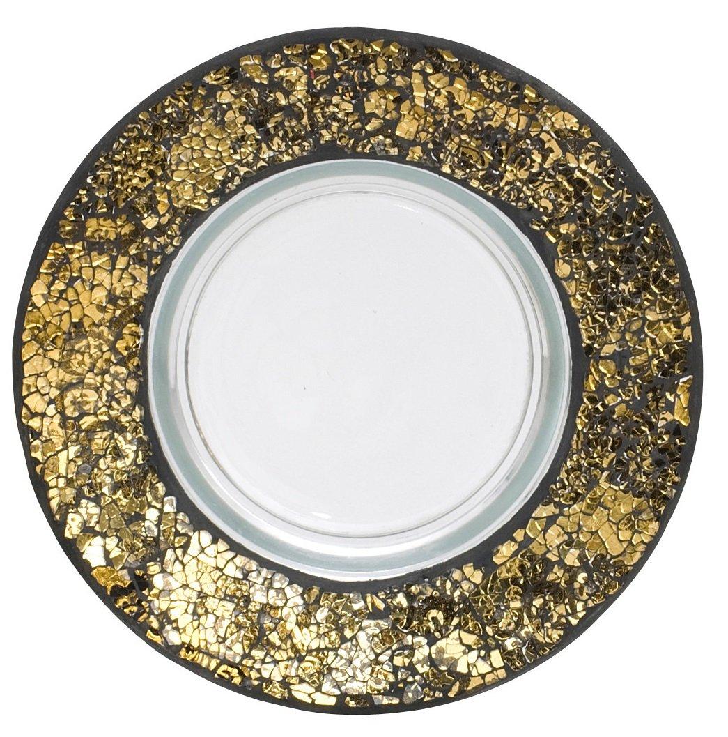 Yankee Candle - Piatto grande a mosaico, colore: Nero, Oro