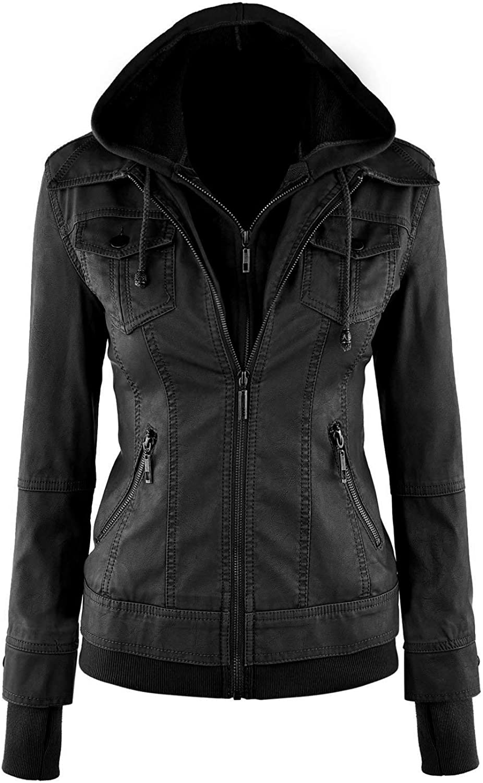 SNA Athena Womens Black Hooded Hoodie Biker Custom Made Leather Jacket