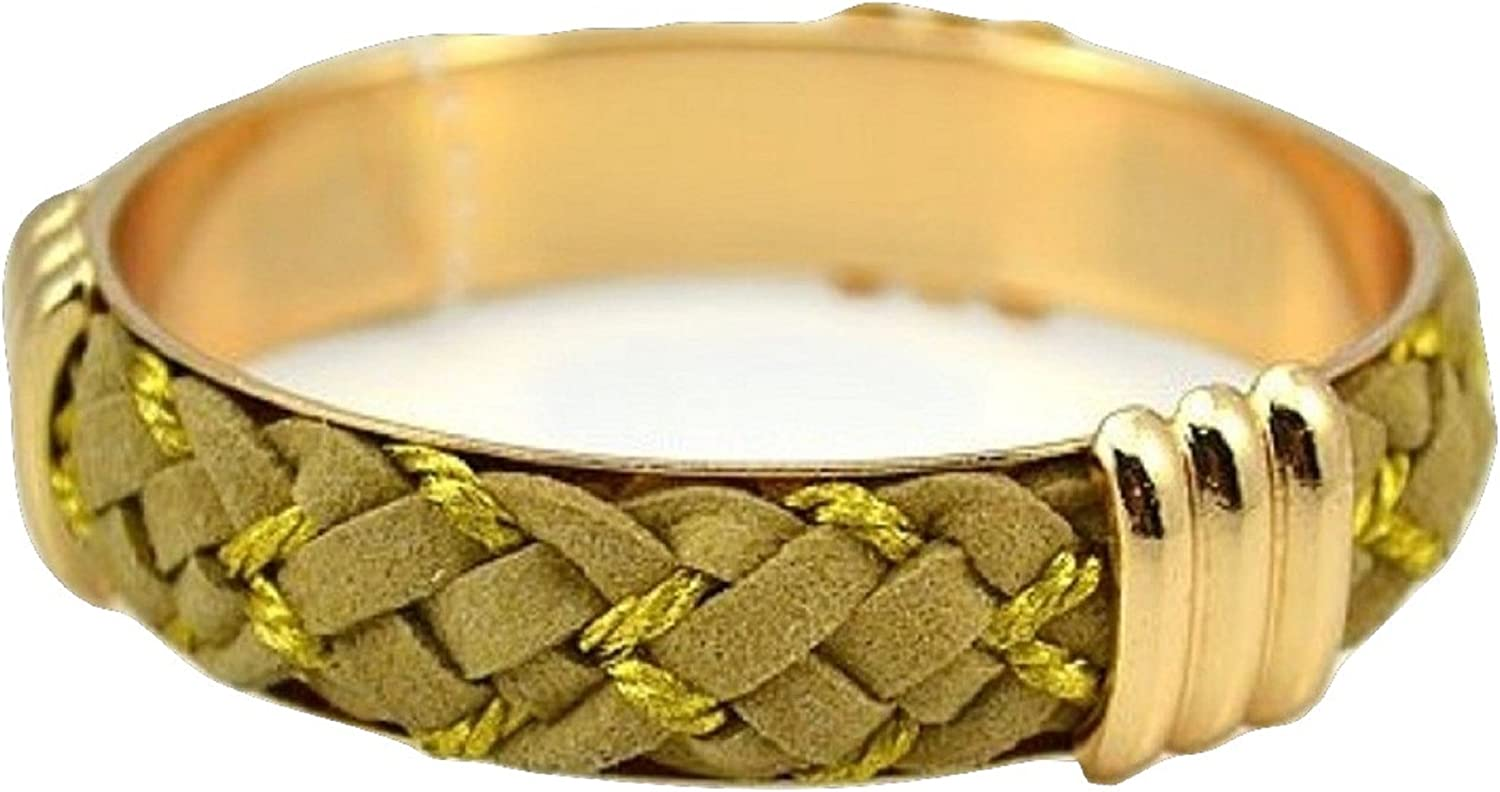 AMR Collection Taupe Yellow Strand Braided Fashion Bangle