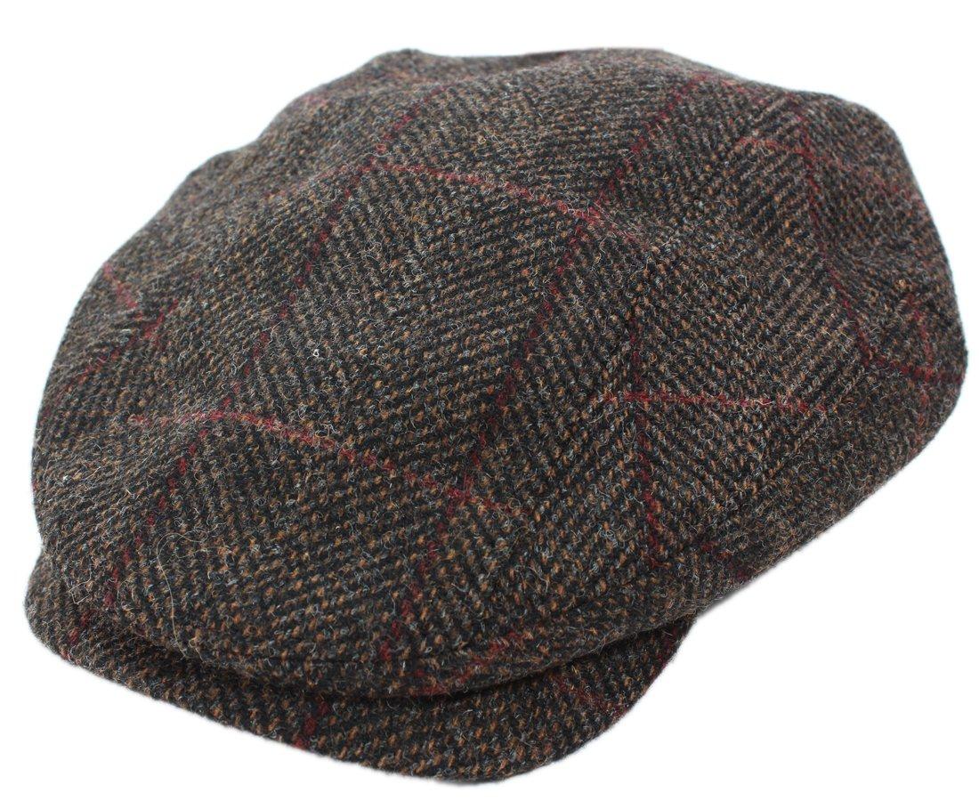 Brown Plaid Irish Tweed Cap by Mucros of Killarney