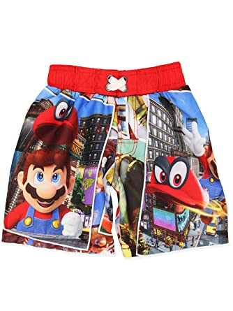 d67c650829 Amazon.com: Super Mario Nintendo Odyssey Boys Swimwear Swim Trunks ...