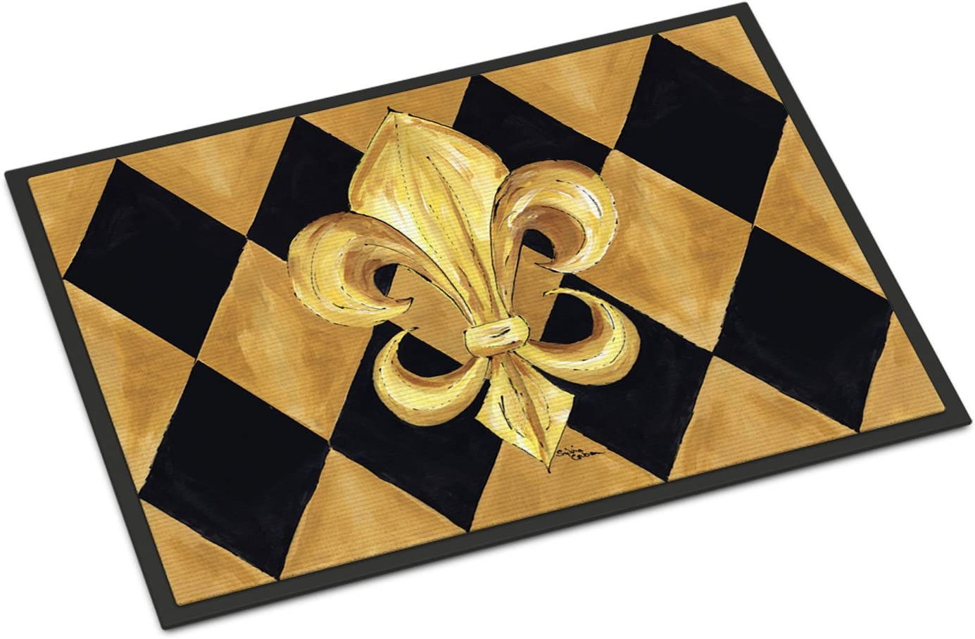 Caroline s Treasures 8125-JMAT Black and Gold Fleur de lis New Orleans Indoor or Outdoor Mat 24×36 Doormat, 24H X 36W, Multicolor