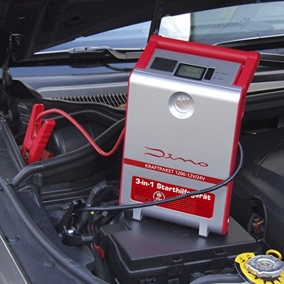 Dino 136106 Fuerza del paquete de 12 V/24 V 1200 a arranque dispositivo con Power Banco arranque Booster Inicio Rápido Sistema de Cables de arranque LED ...