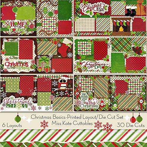 Wishes Christmas 12x12 Paper (Printed Layout & Die Cuts Kit - Christmas Basics Layouts - by Miss Kate Cuttables - 6-2 Page 12