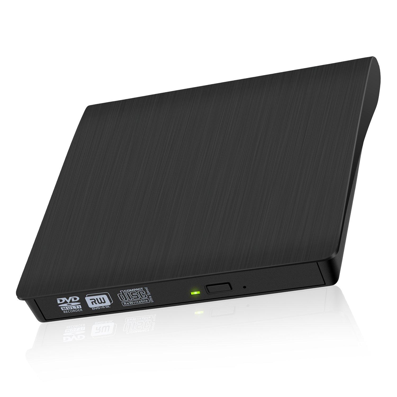 AUSEINS External CD DVD Drive, USB3.0 CD/DVD-RW Rewriter Burner Writer Drive Player High Speed Data Transfer for MacBook/MacBook Pro/Laptop / Desktops/Windows 10/8 / 7/ Vista/Linux / XP (Black)