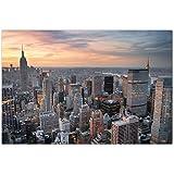 Augenblicke Wandbilder Impression photo sur toile montée sur châssis Motif: gratte-ciel de New York au coucher du soleil 120x80cm