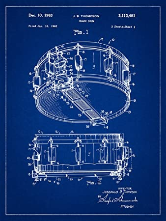Amazon rogers dynasonic snare patent drums blueprint style art rogers dynasonic snare patent drums blueprint style art print 18x24 inch malvernweather Gallery