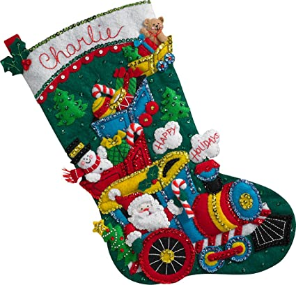 Christmas Stocking Kit.Bucilla 86708 Choo Choo Santa Stocking Kit