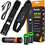 FENIX UC35 USB Rechargeable 960 Lumen Cree XM-L2 U2 multi battery type compatible LED Flashlight with, 3200mAh rechargeable battery, USB charging cable and 2 X EdisonBright lithium CR123A back-up batteries bundle