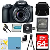 Canon PowerShot SX60 HS Digital Camera Bundle w/ 64GB SD Card, Gadget Bag, NB-10L Battery, SD Card Wallet, SD USB Card Reader, Mini Tripod, Mini-HDMI to HDMI Cable, Screen Protectors&Lens Cleaning Kit