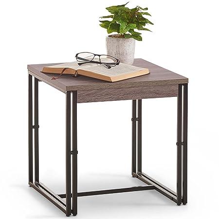 VonHaus Mesa auxiliar rústica - Moderno diseño industrial de ...