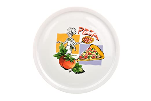Hitachi 30 cm - Platos para pizza con diseño pizza: Amazon.es: Hogar