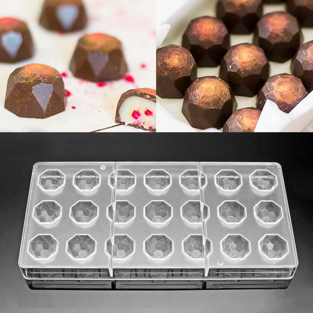 Jeteven Molde de Chocolate Molde de Caramelos para DIY Jalea Dulce Bandeja Herramienta Tridimensional (21pcs Diamente): Amazon.es: Hogar
