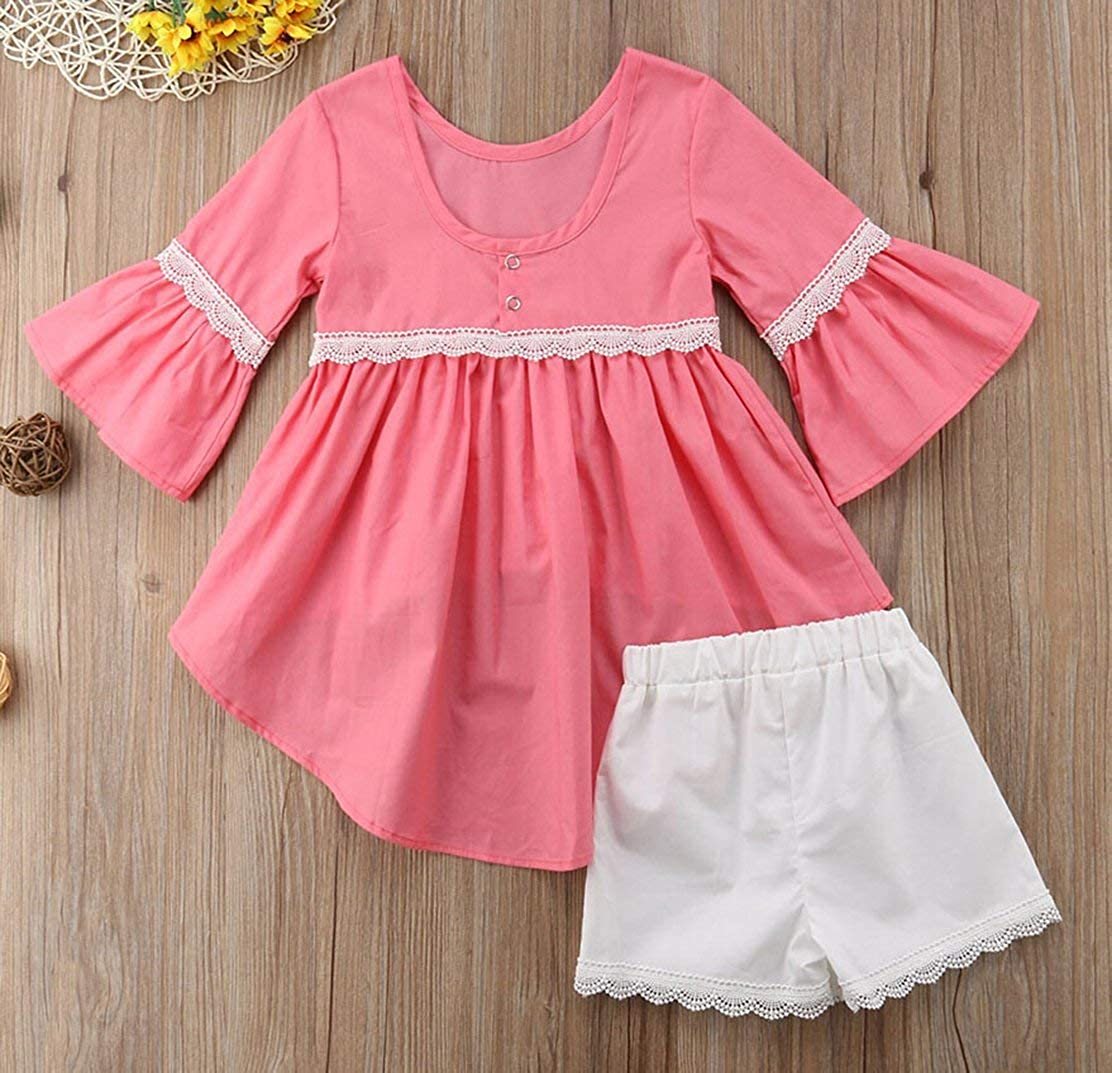 Toddler Baby Girls Flare Sleeve Ruffle Tops+Shorts Bottom Matching Outfits 2pcs Set