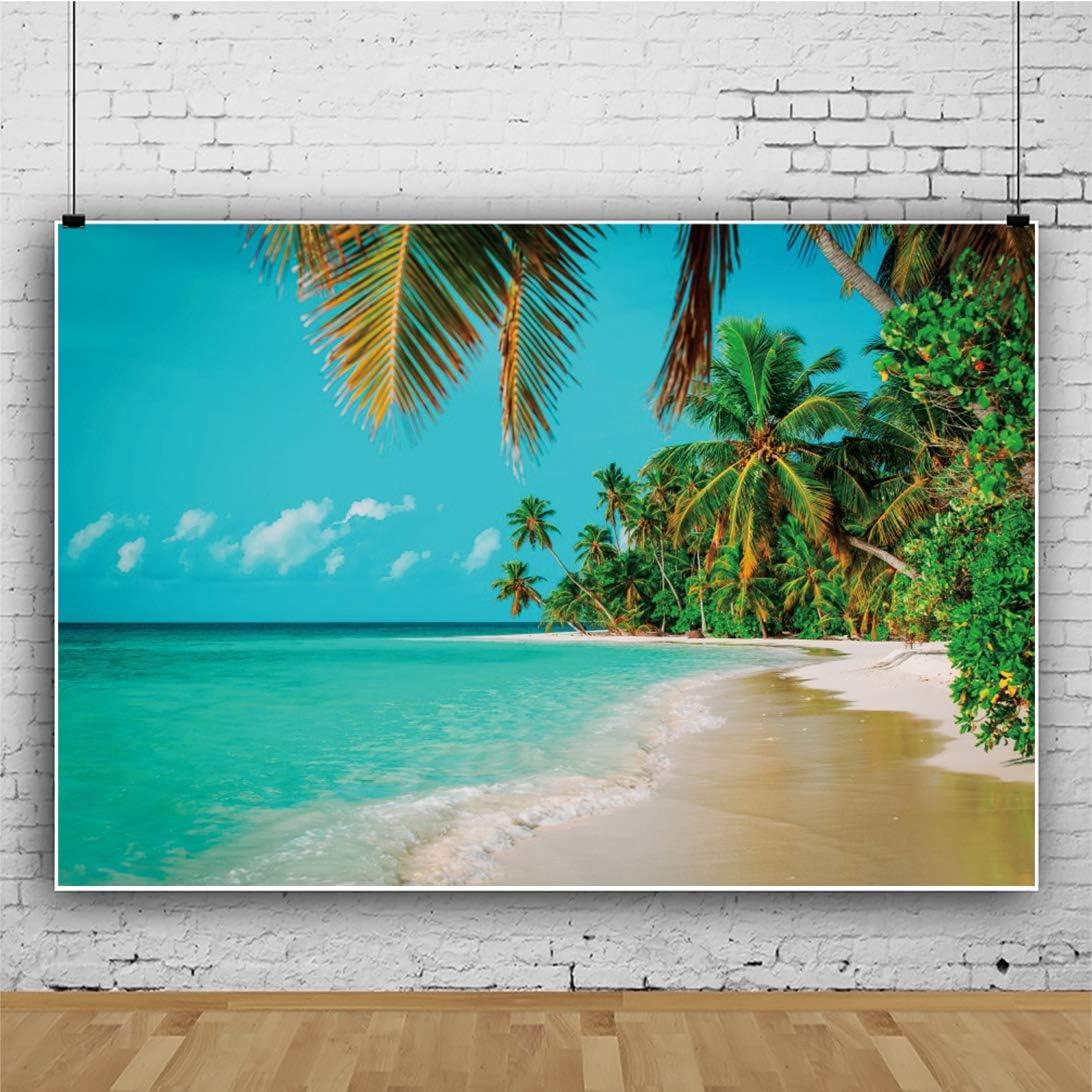 YEELE 10x8ft Seaside Beach Backdrop Blue Sea Water Palm Tree on Tropical Island Photography Background Luau Theme Party Kid Lovers Portrait Photoshoot Studio Props Summer Wedding Photos Wallpaper