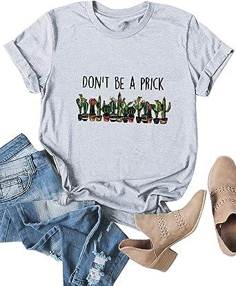 Dresswel Camiseta de Mujer Manga Corta Cactus Impresión Blusa Camisa Cuello Redondo Basica Camiseta Suelto Verano Tops Fiesta T-Shirt: Amazon.es: Ropa y accesorios