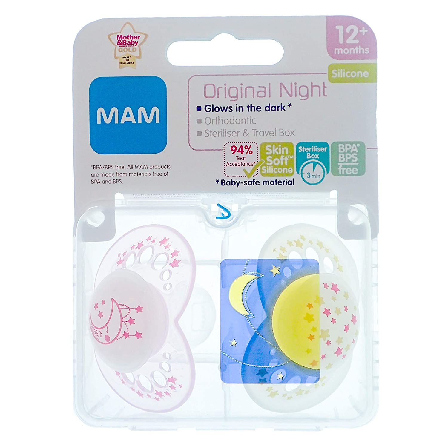 MAM Night: 2 x Chupetes 12m+ (Rosado): Amazon.es: Bebé