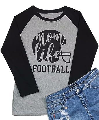 cd9a3f75 Amazon.com: Football Mom Life Raglan Long Sleeve Baseball T Shirt Women  Funny Letter Printed Mom Graphic Tee Tops: Clothing