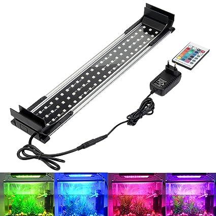 greensun Acuario Lámpara Iluminación LED RGB 16 Colores aufsetzl lámpara luz Acuario Lámpara Aluminio Aleación klemmleuc