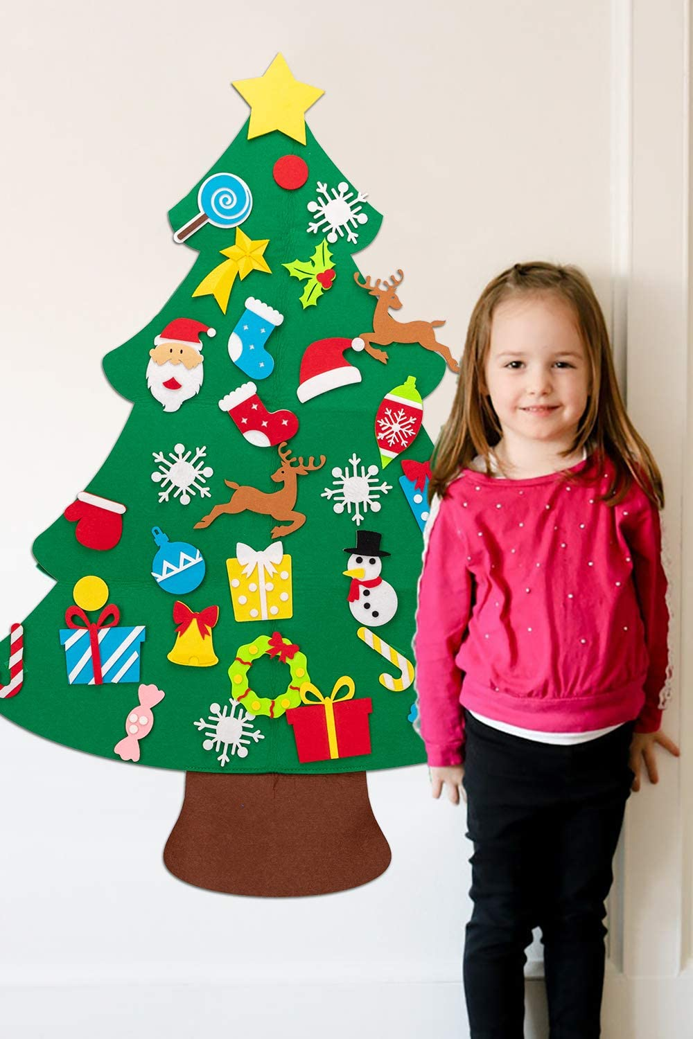 Xmas Decorations Wall Hanging 32 Ornaments Kids Gifts Party Supplies jollylife 3ft DIY Felt Christmas Tree Set