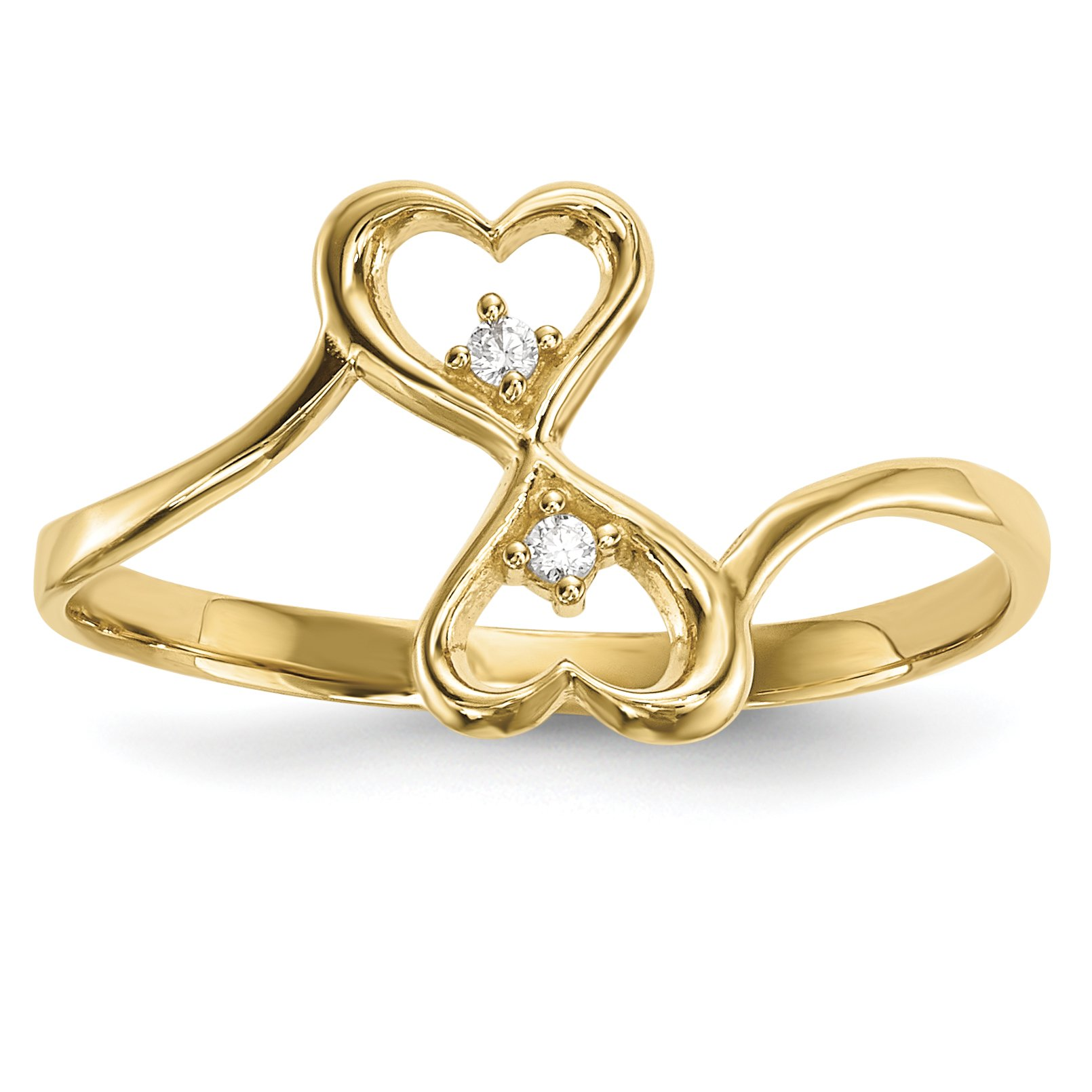 ICE CARATS 14k Yellow Gold Cubic Zirconia Cz Double Heart Band Ring Size 7.00 S/love Fine Jewelry Gift Set For Women Heart