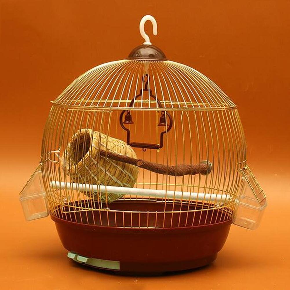 JiaYue Luxury100 de Alta Temperatura de Cromo Metal Jaulas para Pájaros de Oro de Color Pequeño 33.5x44cm, Golden Color, Set 3